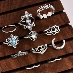 Jewelry - 11 Piece Boho Midi Ring Set